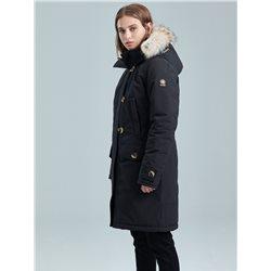 Kanuk - Manteau d'hiver Mont Royal pour femme bleu-noir avec fourrure